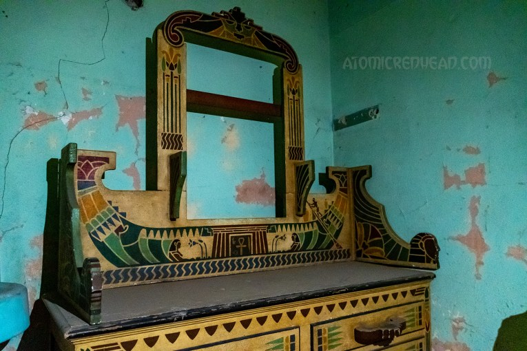 Close up of the vanity, with its Egyptian design work.