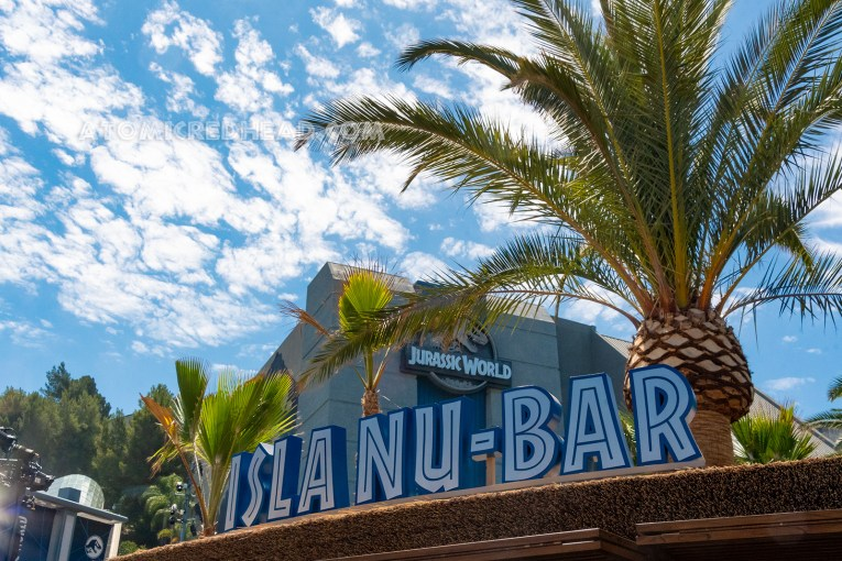 "A bar in front of the ride, with a thatched roof, and blue letters reading ""Isla Nu-Bar"""