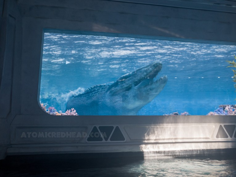Rafts glide into an aquarium like corridor and come face to face with the massive aquatic Mosasaurus.