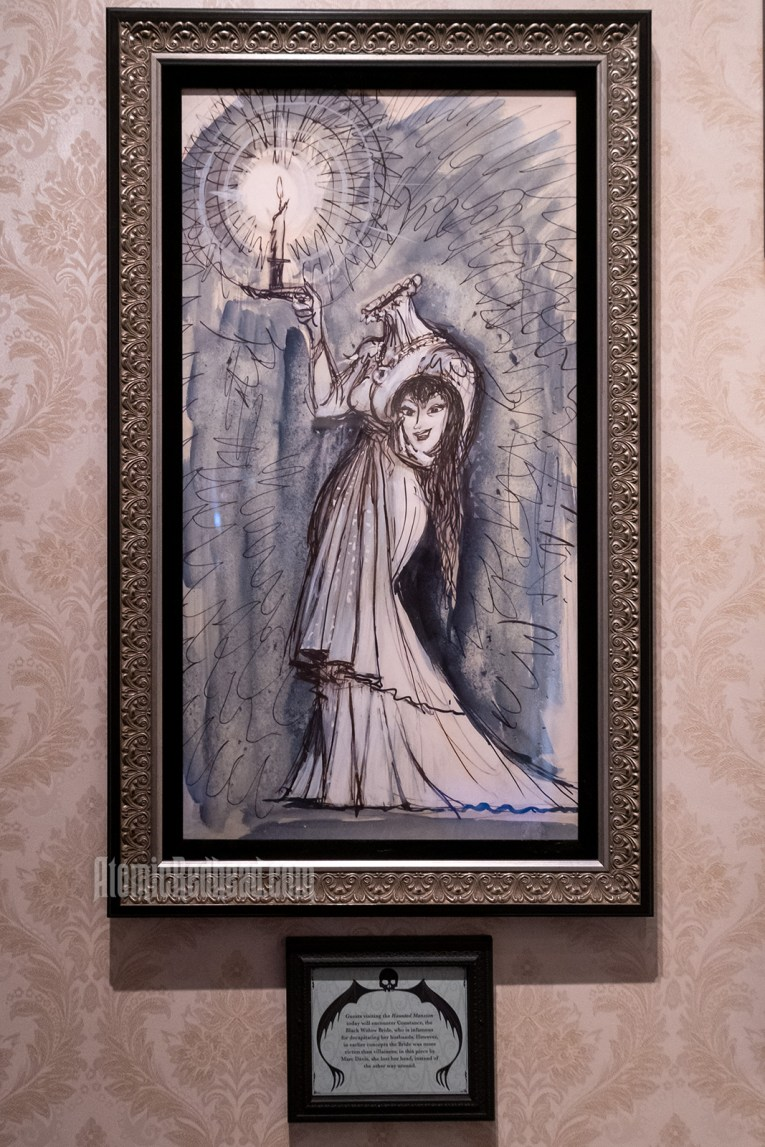 An illustration of of a woman, headless, but holding her head in her arm, her other hand holds a lit candle. She wears a white dress.