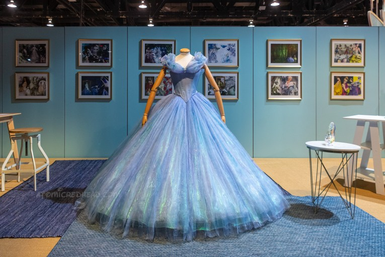 Cinderella's gown from the later theatrical live action version of Cinderella. The gown is blue and very full, and features butterflies along the neckline.