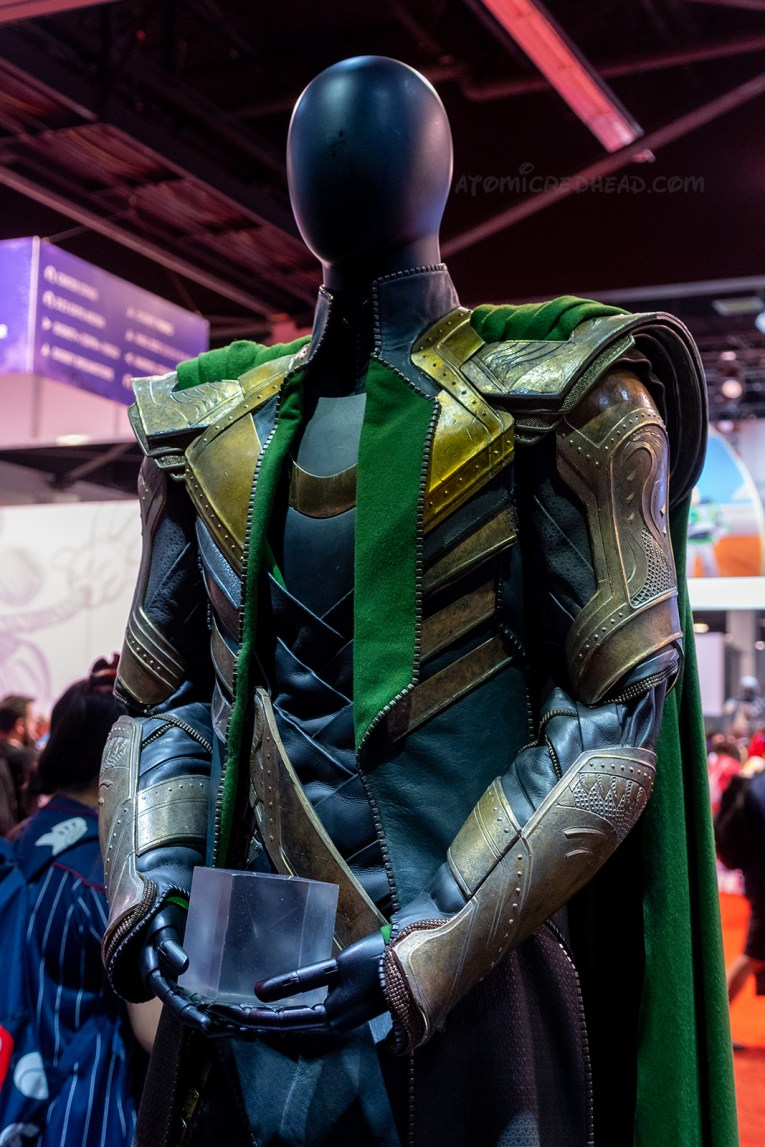 Loki's costume from Avengers, a black, green, and gold caped ensemble.