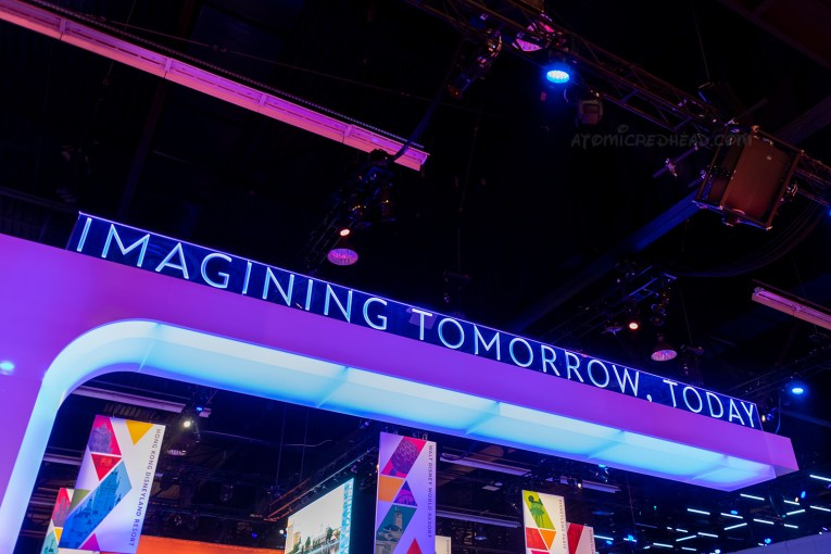 The sign for the Disney Parks area, which reads Imagining Tomorrow, Today