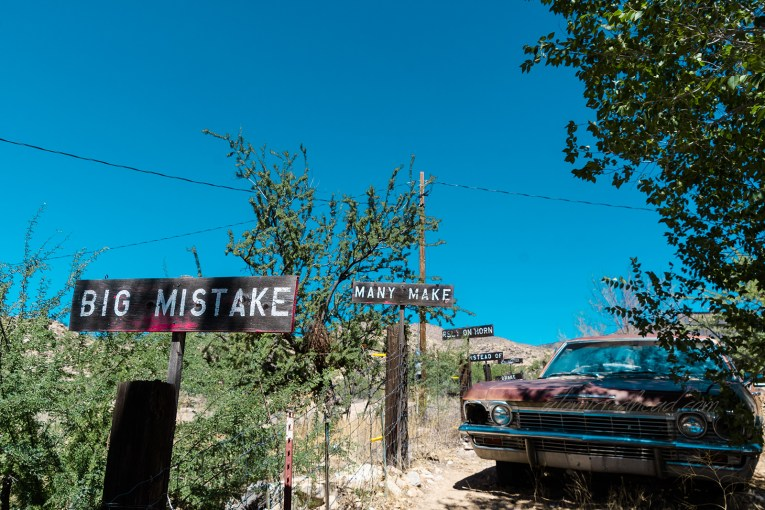 """Old Burma Shave signs. Each sign reads part of a sentence. This series reads """"Big mistake many make rely on horn instead of brakes"""""""