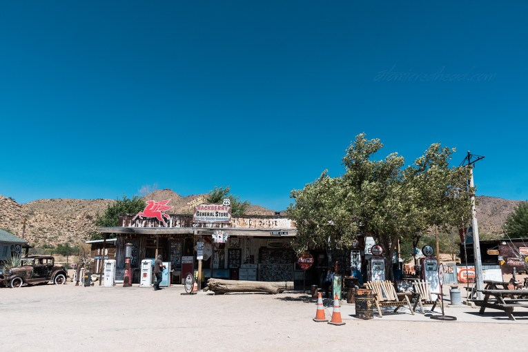 Hackberry General Store, an old staple of Route 66, with old gas pumps and signage scattered around.
