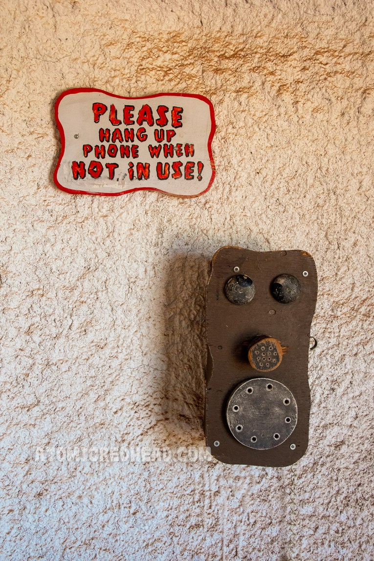 """The """"telephone"""" which is a stone age version of the first telephones."""
