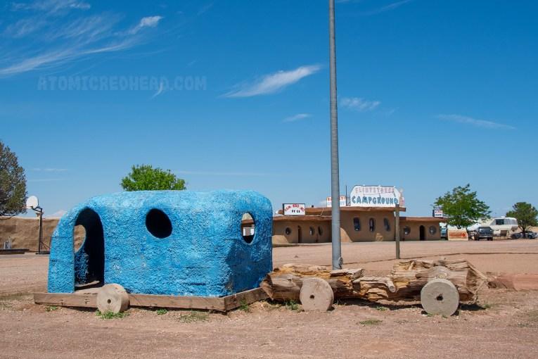 A stone age travel trailer.