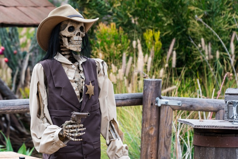 A skeleton in cowboy clothes holds a gun.