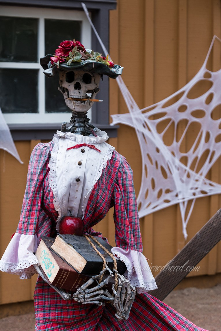 A skeleton schoolmarm stands in a red plaid dress holding books.