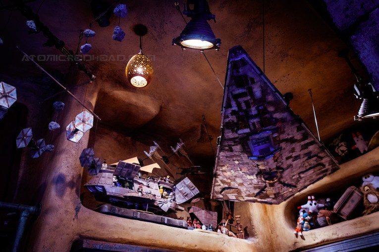A toy Star Destroyer hangs in the toy shop of Galaxy's Edge.