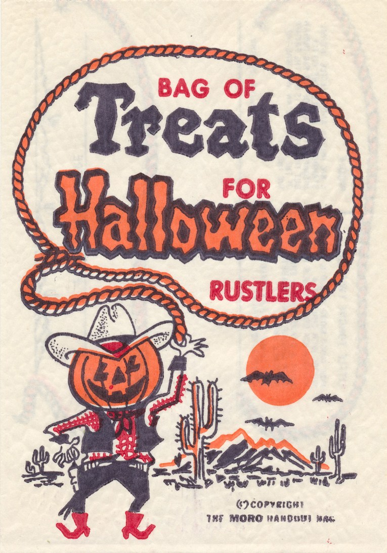 "A cowboy with a pumpkin for a head holds a lasso, inside the lasso it reads ""Bag of Treats for Halloween Rustlers"""