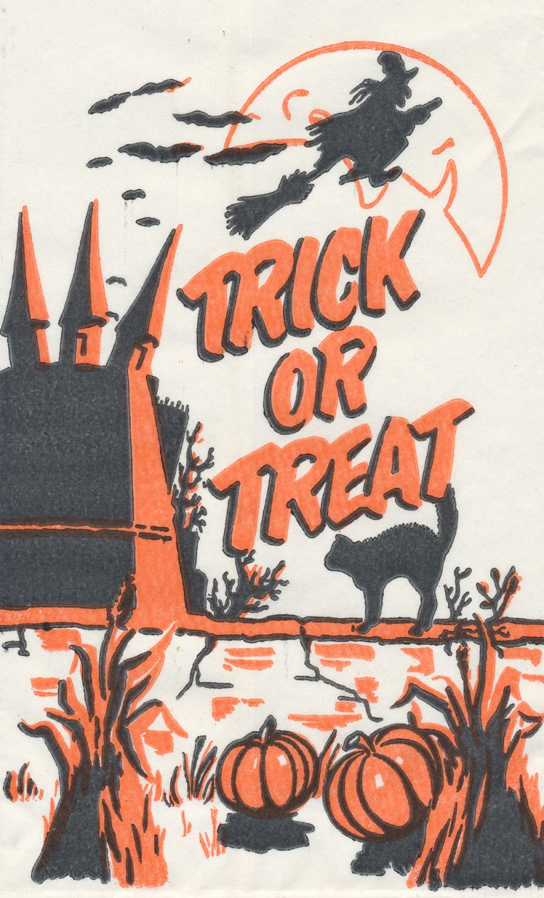 "A black cat stands out front of a castle with a witch flying on a broom in front of the moon. Black and Orange text reads ""Trick or Treat"""