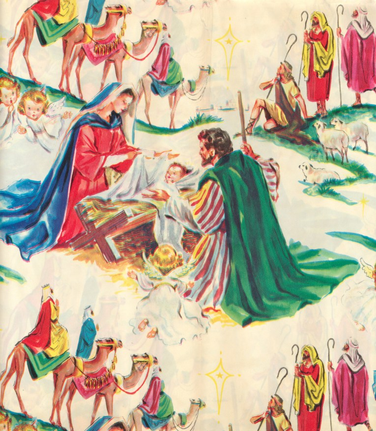 Illustration of Mary, Joseph, baby Jesus, and the Wise Men on camels.
