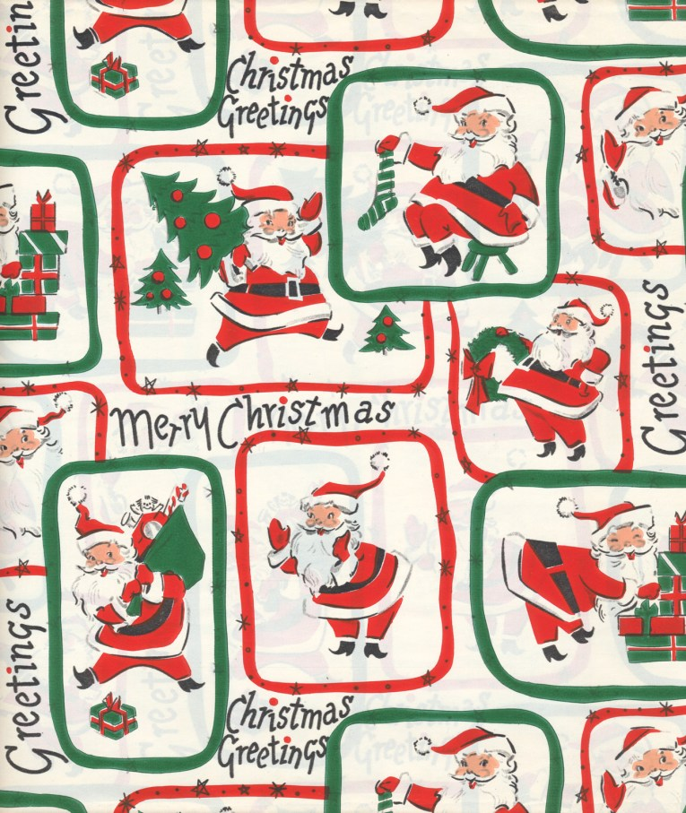 Santa carries a Christmas tree, puts presents by a tree, holds a stocking, and holds a wreath. Each illustration is surrounded by a rectangle of either red or green, against a white background.