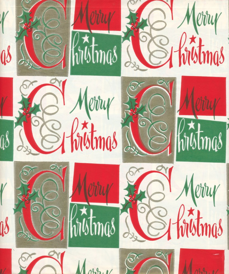 Merry Christmas in a festive script and boxes of red, green, white, and gold.