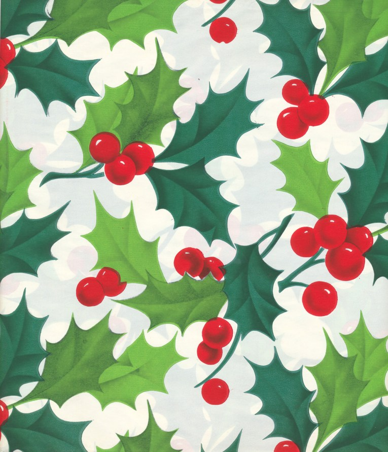 Green holly leaves and red holly berries against a white background.
