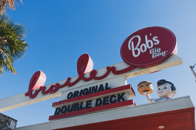 "The massive sign atop the roof reading ""Bob's Big Boy Broiler Original Double Deck Hamburger"""