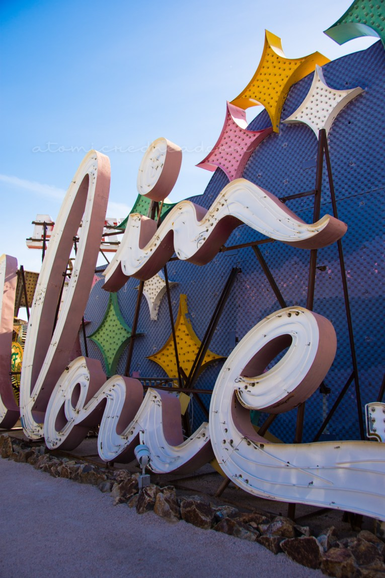 "The Moulin Rouge sign sitting in the ""neon graveyard"" of the Neon Museum in Las Vegas. Portions of which have been pieced together to spell ""in love"""