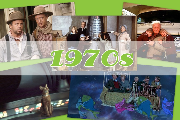 "Collage of images from The Cat from Outer Space, Candle Shoe, The Apple Dumpling Gang, Bedknobs and Broomsticks, and Escape to Witch Mountain, with ""1970s"" over the top."