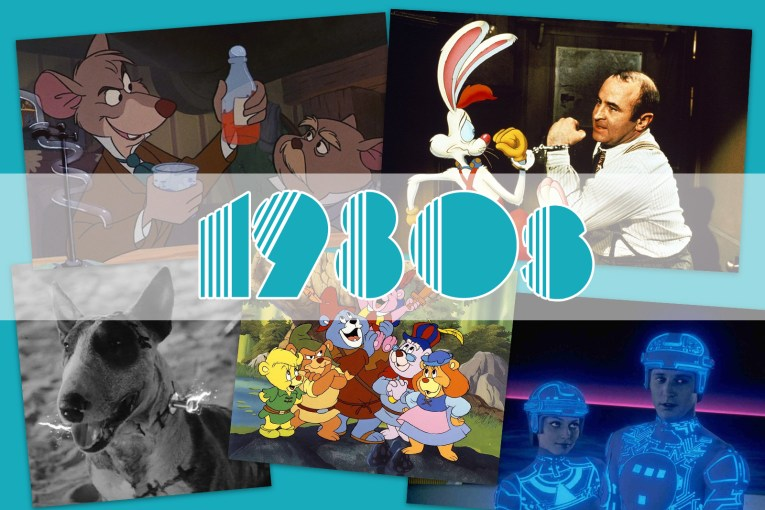 """Collage of images from Adventures of the Gummi Bears, Frankenweenie, The Great Mouse Detective, Who Framed Roger Rabbit?, and Tron. With """"1980s"""" over the top."""