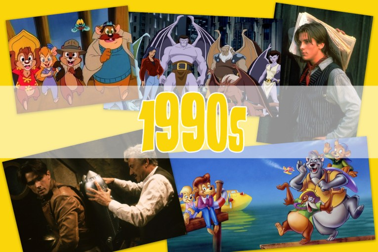 "Collage of images from Gargoyles, TaleSpin, Chip 'n Dale Rescue Rangers, The Rocketeer, and Newsies, with ""1990s"" over the top."