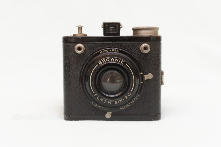 Kodak Brownie Flash Six-20. A small black square camera.