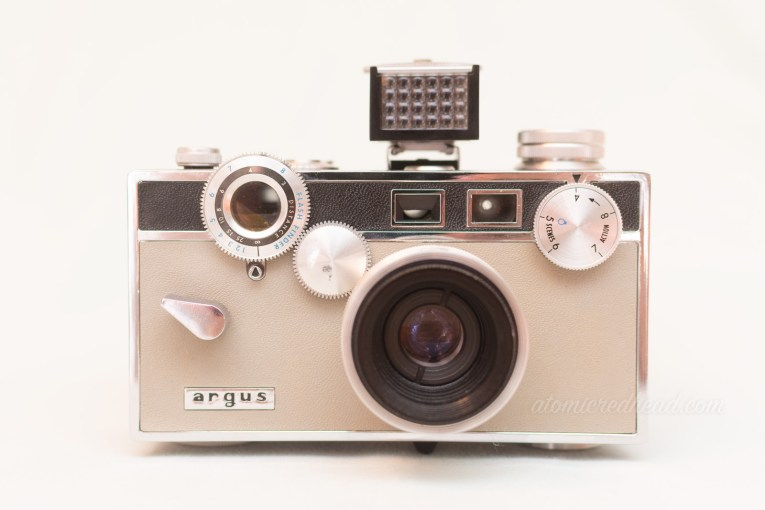 Argus Match-matic C3. A grey and black rangefinder style camera with silver knobs and dials.