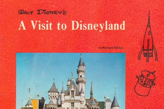 Book Cover: A Visit to Disneyland. In the middle is a photo of Mickey leading the Disneyland Band with Sleeping Beauty Castle in the background. The book is edged in red and has illustrations of various Disneyland attractions on it.