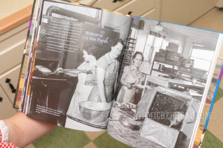 Inside the cookbook, a photo of women working making pies in the 1940s.