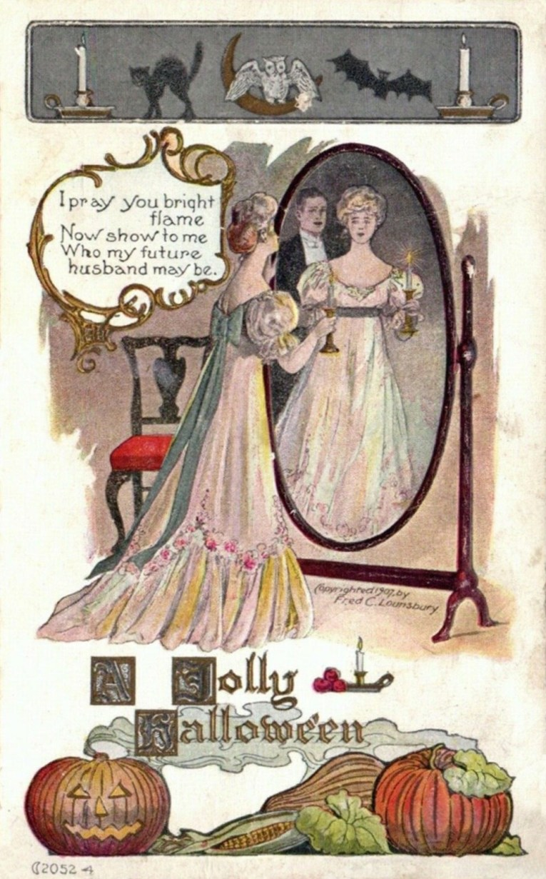 "A woman in a white dress with blue bow stands in front of a mirror holding a candle, a man in a tux appears next to her in the mirror. Text reads ""I pray you bright flame Now show to me Who my future husband may be."""