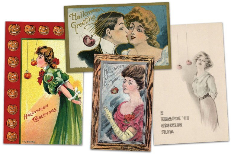 "Collage of four postcards. One features a woman in a green Victorian dress, her hands tied behind her back as she attempts to bite into an apple on a string. Text reads ""Halloween Greetings."" Another postcard features a gentleman in a tux kissing the cheek of a woman as an apple swings pas them. Text reads ""Halloween Greetings."" Another postcard features a woman in a red Victorian dress, attempting to bite an apple on a string, a wood border around the card. Text reads ""Halloween Joys be Thine."" The far right postcard features a woman in a simple Edwardian outfit attempting to bite into an apple on a string, her hands behind her back, text reads ""A Halloween Greeting From"" with room for the sender to write their name."