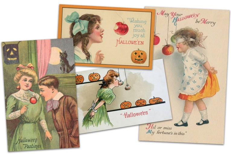 """Collage of four postcards. One features a little girl in a green dress, as a little boy in a brown suit who attempts to bite into an apple on a string with his hands behind is back, text reads """"Halloween Pastimes."""" Another postcard features a little girl in blue outfit with big blue bow attempting to bite into an apple. Text reads """"Wishing you much joy at Halloween."""" Another postcard features a woman in a green dress attempting to bite into an apple on a string as several Jack O'Lanterns look on, text at the bottom reads """"Halloween."""" Another postcard features a little girl in an orange dress with white apron, her hands behind her back, and she is blindfolded. She attempts to bite into an apple on a string. Text reads """"May your Halloween be merry. Hit or miss my fortune's in this."""""""