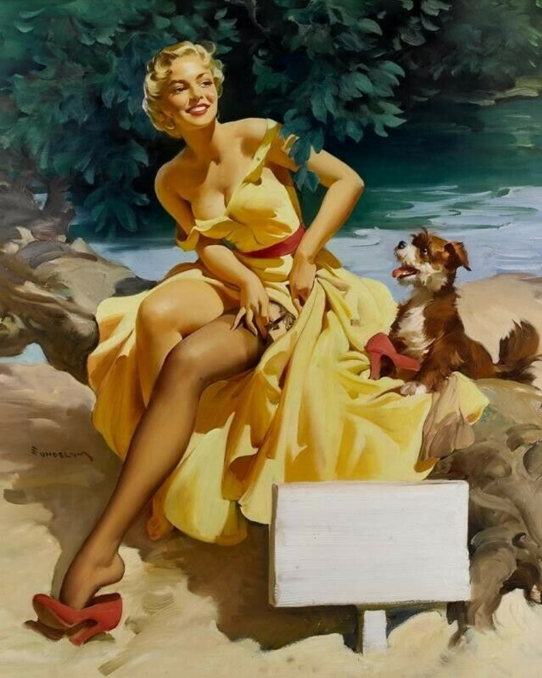 A blonde pinup in a yellow dress adjusts her garter near a lake as a dog looks on.