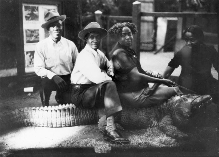 Four siblings sit astride an alligator at the California Alligator Farm. Left to right: Tom Rhodes, Earl Rhodes, Sadie Rhodes Henry, Mamie Rhodes Jackson.