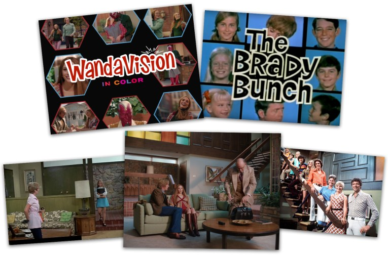 Upper left is the WandaVision opening and on the right the Brady Bunch opening. below that two photos of the Brady Bunch living room and the WandaVision living room all of which are very similar.