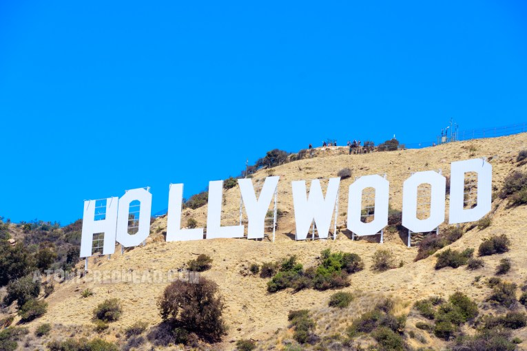 Close-up of the Hollywood sign.