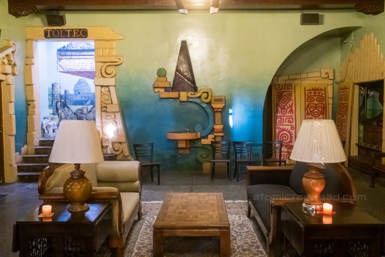 Lobby of the Aztec with a fanciful Mayan inspired drinking fountain.