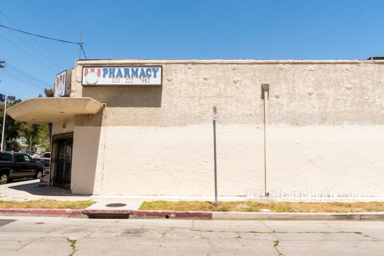 Originally painted on the side of S&S Pharmacy, the mural no longer exists and is just a cream stucco wall.