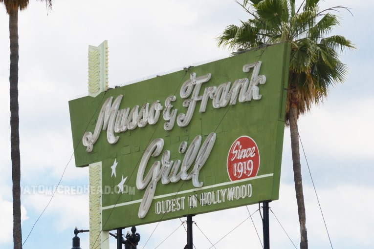 The Musso & Frank neon sign today, during the daytime.