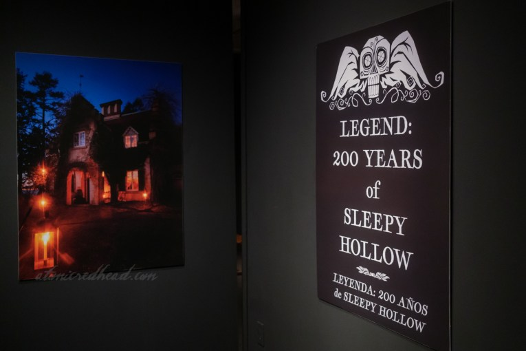 """Beginning of the exhibit features a sign reading """"LEGEND: 200 Years of Sleepy Hollow"""""""