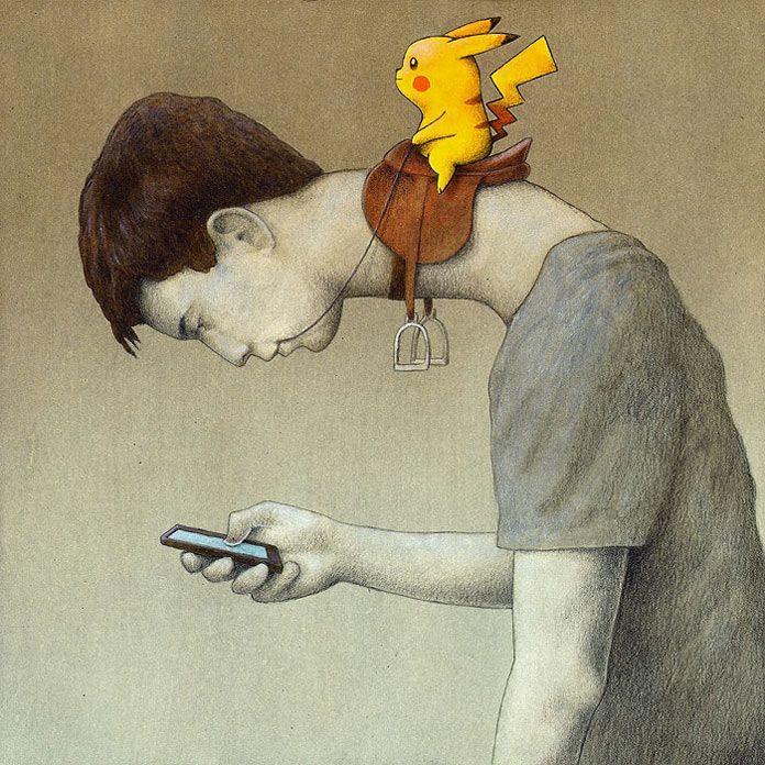 arte de Pawel Kuczynski - uma pessoa olhando a tela de seu celular com o pescoço alongado e curvo, com um pokemon utilizando-o como uma montaria. Uma metáfora sobre a relação da sociedade com a tecnologia.