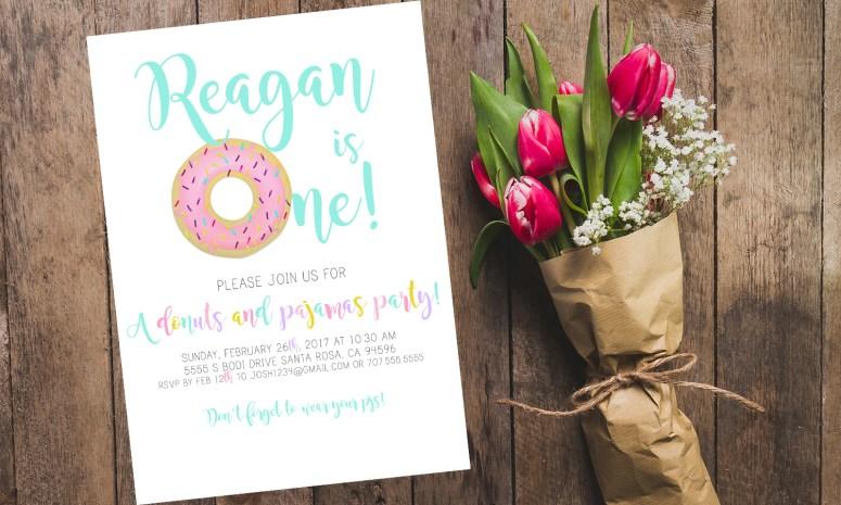 Donuts and PJs Invitation
