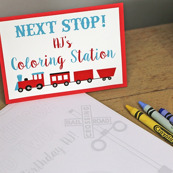 Train Party Coloring Station