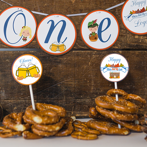 Oktoberfest Birthday Party Cupcake Toppers
