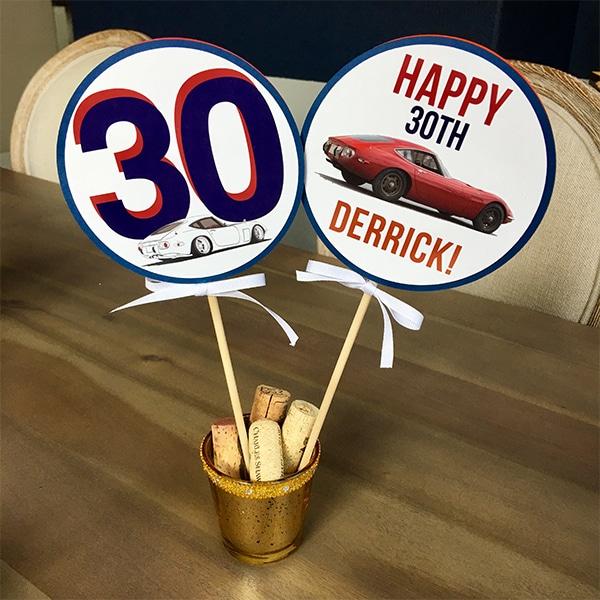 Custom Centerpiece Sticks for Car Party