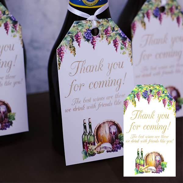Wine Party PNG Favor Tag