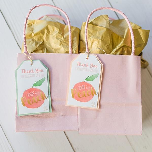Peach Party Favor Tags