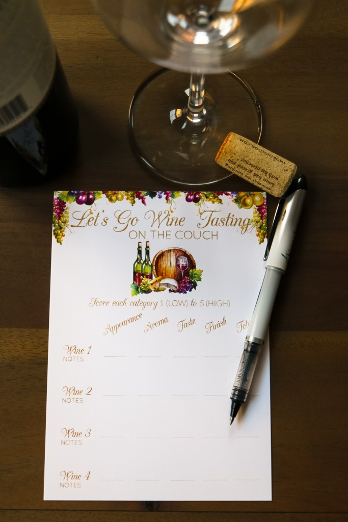 Rate your wines printable cards