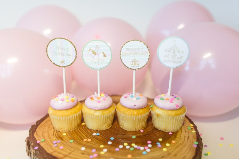 Carousel Birthday Party Cupcake Toppers