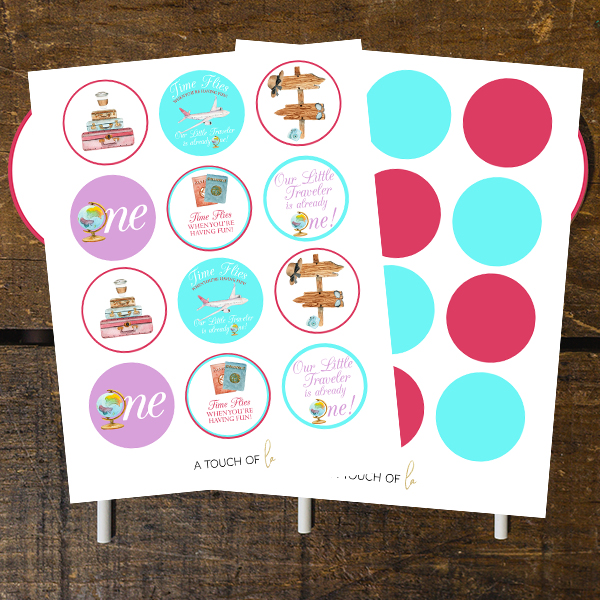 Travel Themed Girl 1st Birthday Party Cupcake Toppers